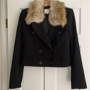LOFT Black Cropped Jacket with Fur Collar Medium